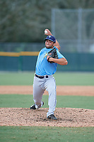 Tampa Bay Rays relief pitcher Joe Serrapica (47) delivers a pitch during an Instructional League game against the Pittsburgh Pirates on October 3, 2017 at Pirate City in Bradenton, Florida.  (Mike Janes/Four Seam Images)