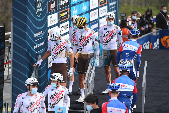 AG2R Citroen Team and Total Direct Energie at sign on before the start of Stage 5 of Tirreno-Adriatico Eolo 2021, running 205km from Castellalto to Castelfidardo, Italy. 14th March 2021. <br /> Photo: LaPresse/Marco Alpozzi | Cyclefile<br /> <br /> All photos usage must carry mandatory copyright credit (© Cyclefile | LaPresse/Marco Alpozzi)