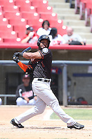 Guillermo Pimental (1) of the Bakersfield Blaze bats during a game against the High Desert Mavericks at Mavericks Stadium on May 18, 2015 in Adelanto, California. High Desert defeated Bakersfield, 7-6. (Larry Goren/Four Seam Images)