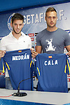 Getafe's new players Alvaro Medran (l) and Juan Cala during his official presentation. July 6, 2015. (ALTERPHOTOS/Acero)