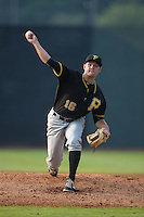 Bristol Pirates relief pitcher Tanner Anderson (16) in action against the Johnson City Cardinals at Howard Johnson Field at Cardinal Park on July 6, 2015 in Johnson City, Tennessee.  The Pirates defeated the Cardinals 2-0 in game one of a double-header. (Brian Westerholt/Four Seam Images)