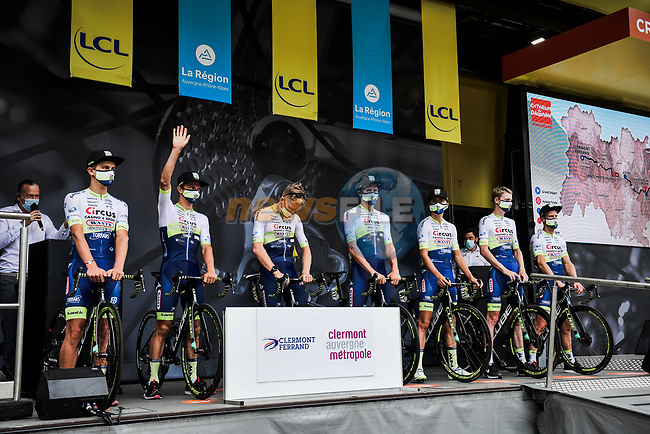 Circus-Wanty Gobert at the Team Presentation before the start of Stage 1 of Criterium du Dauphine 2020, running 218.5km from Clermont-Ferrand to Saint-Christo-en-Jarez, France. 12th August 2020.<br /> Picture: ASO/Alex Broadway | Cyclefile<br /> All photos usage must carry mandatory copyright credit (© Cyclefile | ASO/Alex Broadway)