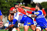 Action from the Wellington premier men's club rugby Swindale Shield match between Marist St Pat's and Northern United at Evan's Bay Park in Wellington, New Zealand on Saturday, 24 April 2021. Photo: Dave Lintott / lintottphoto.co.nz