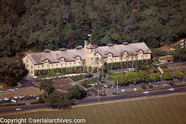 aerial photograph of the Culinary Institute of America, St. Helena, Napa County, California