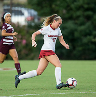 Hawgs Illustrated/BEN GOFF <br /> Stefani Doyle of Arkansas in the first half vs Texas A&M  Thursday, Sept. 20, 2018, at Razorback Field in Fayetteville.