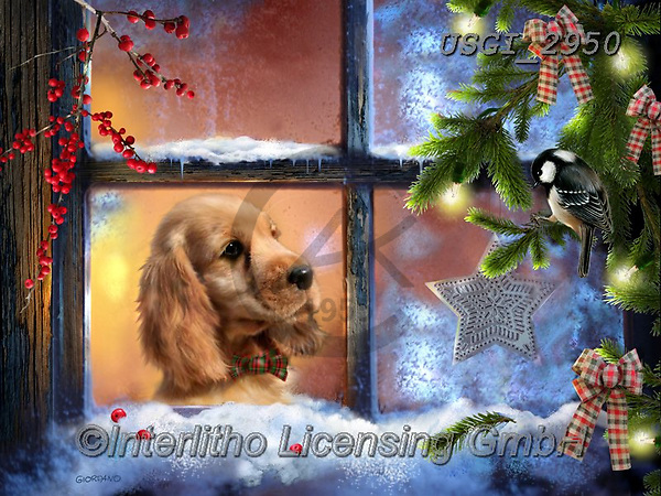 GIORDANO, CHRISTMAS ANIMALS, WEIHNACHTEN TIERE, NAVIDAD ANIMALES, paintings+++++,USGI2950,#xa# ,dog,dogs