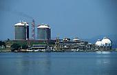 Rio de Janeiro, Brazil. Petrobras oil refinery with spherical gas storage tanks.