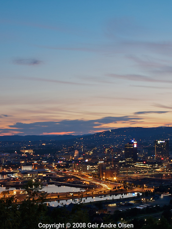 View of Oslo, the capital of Norway, ony July night
