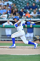 Tennessee Smokies shortstop Carlos Penalver (11) swings at a pitch during a game against the Pensacola Blue Wahoos at Smokies Stadium on August 5, 2017 in Kodak, Tennessee. The Smokies defeated the Blue Wahoos 6-2. (Tony Farlow/Four Seam Images)