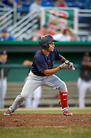 State College Spikes left fielder Andres Luna (4) squares to bunt during a game against the Batavia Muckdogs on July 7, 2018 at Dwyer Stadium in Batavia, New York.  State College defeated Batavia 7-4.  (Mike Janes/Four Seam Images)