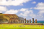 Moais of Ahu Tongariki on Easter Island, Chile.