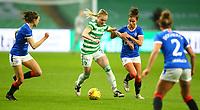 21st April 2021; Celtic Park, Glasgow, Scotland; Scottish Womens Premier League, Celtic versus Rangers; Jodie Bartle of Celtic Women on the ball is surrounded by Rangers players