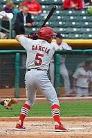 Greg Garcia (5) of the Memphis Redbirds at bat against the Salt Lake Bees at Smith's Ballpark on June 18, 2014 in Salt Lake City, Utah.  (Stephen Smith/Four Seam Images)
