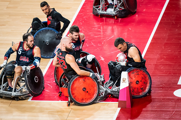 Zak Madell and Michael Whitehead, Tokyo 2020 - Wheelchair Rugby // Rugby en fauteuil roulant.<br /> Canada takes on The USA in the preliminary round // Le Canada affronte Les Etats-Unis d'Amérique au tour préliminaire. 26/08/2021.