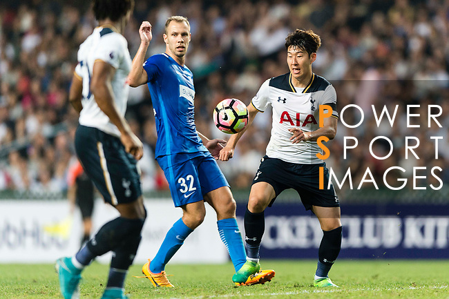 Tottenham Hotspur Forward Heung-Min Son (R) in action against SC Kitchee Defender Krisztin Vadocz (L) during the Friendly match between Kitchee SC and Tottenham Hotspur FC at Hong Kong Stadium on May 26, 2017 in So Kon Po, Hong Kong. Photo by Man yuen Li  / Power Sport Images
