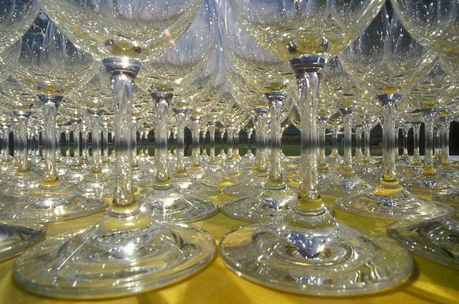 View of wine glasses at wine tasting