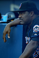 New York Mets coach Don Baylor during a 2003 season MLB game at Dodger Stadium in Los Angeles, California. (Larry Goren/Four Seam Images)
