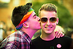 © Joel Goodman - 07973 332324 . 26/08/2016 . Manchester , UK . Crowd in front of the Main Stage in Manchester's Gay Village for 2016 Manchester Gay Pride Big Weekend . Photo credit : Joel Goodman