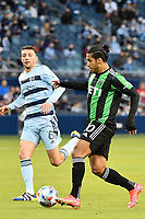 KANSAS CITY, KS - MAY 9: Cecilio Dominguez #10 Austin FC with the ball during a game between Austin FC and Sporting Kansas City at Children's Mercy Park on May 9, 2021 in Kansas City, Kansas.
