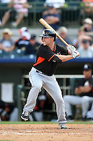 Miami Marlins outfielder Matt Angle (50) during a spring training game against the Houston Astros on March 21, 2014 at Osceola County Stadium in Kissimmee, Florida.  Miami defeated Houston 7-2.  (Mike Janes/Four Seam Images)