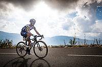 Julian Alaphilippe (FRA/Deceuninck-QuickStep) up the finish climb & the highest peak of the 2020 #TdF: the Col de la Loze (HC/2304m/21,5km @7,8%)<br /> <br /> Stage 17 from Grenoble to Méribel - Col de la Loze (170km)<br /> <br /> 107th Tour de France 2020 (2.UWT)<br /> (the 'postponed edition' held in september)<br /> <br /> ©kramon