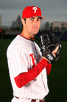 February 24, 2010:  Pitcher Cole Hamels (35) of the Philadelphia Phillies poses during photo day at Bright House Field in Clearwater, FL.  Photo By Mike Janes/Four Seam Images