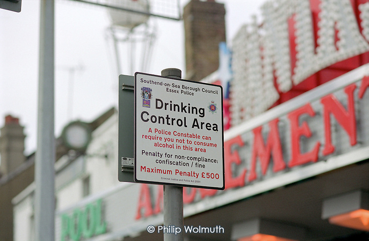Drinking Control Area sign on the seafront in Southend-on Sea, Essex.