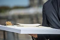 Pressekonferenz am Donnerstag den 23. August 2018 u.a. mit Lothar de Maiziere, letzter DDR- Ministerpraesident, Sabine Bergmann-Pohl, Praesidentin der letzten Volkskammer der DDR, Guenter Nooke, ehemaliger DDR-Buergerrechtler und Wolfgang Thierse ehemaliger Bundestagspraesident zum geplanten Freiheits- und Einheitsdenkmal, welches nach Willen der Initiatoren vor dem wiedererrichteten Berliner Stadtschloss gebaut werden soll.<br /> Im Bild: Das Model der sog. Einheits-Wippe.<br /> 23.8.2018, Berlin<br /> Copyright: Christian-Ditsch.de<br /> [Inhaltsveraendernde Manipulation des Fotos nur nach ausdruecklicher Genehmigung des Fotografen. Vereinbarungen ueber Abtretung von Persoenlichkeitsrechten/Model Release der abgebildeten Person/Personen liegen nicht vor. NO MODEL RELEASE! Nur fuer Redaktionelle Zwecke. Don't publish without copyright Christian-Ditsch.de, Veroeffentlichung nur mit Fotografennennung, sowie gegen Honorar, MwSt. und Beleg. Konto: I N G - D i B a, IBAN DE58500105175400192269, BIC INGDDEFFXXX, Kontakt: post@christian-ditsch.de<br /> Bei der Bearbeitung der Dateiinformationen darf die Urheberkennzeichnung in den EXIF- und  IPTC-Daten nicht entfernt werden, diese sind in digitalen Medien nach §95c UrhG rechtlich geschuetzt. Der Urhebervermerk wird gemaess §13 UrhG verlangt.]