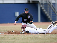 March 22nd 2009:  Third baseman Trevor Rutkowski (21) of the Niagara University Purple Eagles attempts a tag on A.J. Albee during a game at Sal Maglie Stadium in Niagara Falls, NY.  Photo by:  Mike Janes/Four Seam Images