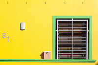 South Africa, Cape Town, Bo-kaap.  Window and Mail Box with Lock.