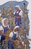 Europe/Allemagne/Forêt Noire/Fribourg : Mur peint représentant les vendanges