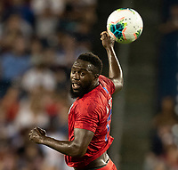 NASHVILLE, TN - JULY 3: Jozy Altidore #17 heads the ball during a game between Jamaica and USMNT at Nissan Stadium on July 3, 2019 in Nashville, Tennessee.