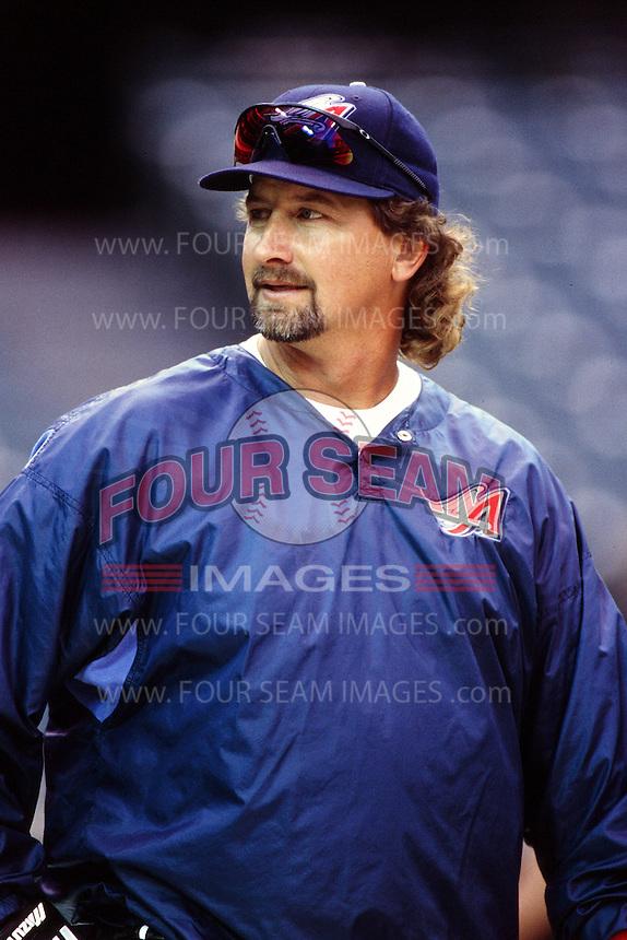 Charlie O'Brien of the Anaheim Angels during a game circa 1999 at Angel Stadium in Anaheim, California. (Larry Goren/Four Seam Images)