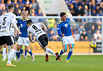 St Johnstone v Lask…26.08.21  McDiarmid Park    Europa Conference League Qualifier<br />Michael O'Halloran gets the better of Peter Michorl<br />Picture by Graeme Hart.<br />Copyright Perthshire Picture Agency<br />Tel: 01738 623350  Mobile: 07990 594431