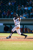 Mesa Solar Sox center fielder Daz Cameron (13), of the Detroit Tigers organization, follows through on his swing during an Arizona Fall League game against the Glendale Desert Dogs at Sloan Park on October 27, 2018 in Mesa, Arizona. Glendale defeated Mesa 7-6. (Zachary Lucy/Four Seam Images)