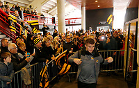Photo: Richard Lane/Richard Lane Photography. Toulouse v Wasps.  European Rugby Champions Cup. 15/12/2018. Wasps supporters greet the players as Billy Searle gets off the coach.