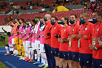 GUADALAJARA, MEXICO - MARCH 24: USMNT U-23 coaches and bench players before a game between Mexico and USMNT U-23 at Estadio Jalisco on March 24, 2021 in Guadalajara, Mexico.