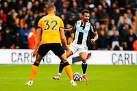 2nd October 2021;  Molineux Stadium, Wolverhampton,  West Midlands, England; EFL Cup football, Wolverhampton Wanderers versus Newcastle United; Jacob Murphy of Newcastle United holds up the ball