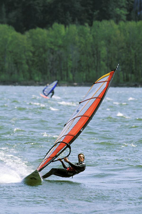Man sailboarding on Columbia River, Washington