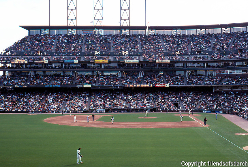 Ballparks: San Francisco Pacific Bell Park. View of grandstand from left. (That's Barry Bonds in left.)