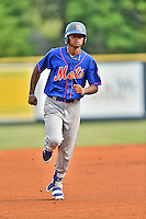 Kingsport Mets right fielder Jose Miguel Medina (44) rounds the bases during a game against the Greeneville Astros at Pioneer Park on July 3, 2016 in Greeneville, Tennessee. The Mets defeated the Astros 11-0. (Tony Farlow/Four Seam Images)