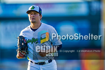 29 August 2019: Vermont Lake Monsters outfielder Shane Selman returns to the dugout during a game against the Connecticut Tigers at Centennial Field in Burlington, Vermont. The Lake Monsters fell to the Tigers 6-2 in the first game of their NY Penn League double-header.  Mandatory Credit: Ed Wolfstein Photo *** RAW (NEF) Image File Available ***