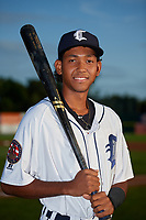 Connecticut Tigers Jose King (48) poses for a photo before a game against the Hudson Valley Renegades on August 20, 2018 at Dodd Stadium in Norwich, Connecticut.  Hudson Valley defeated Connecticut 3-1.  (Mike Janes/Four Seam Images)