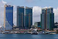 TANZANIA Daressalaam, bay and seaport, new apartment tower and ferry station to Zanzibar