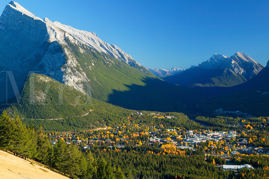 Town of Banff as viewed from Mount Norquay, Banff National Park, Alberta, Canada.