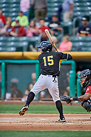 David Fletcher (15) of the Salt Lake Bees bats against the Sacramento River Cats at Smith's Ballpark on May 17, 2018 in Salt Lake City, Utah. Salt Lake defeated Sacramento 12-11. (Stephen Smith/Four Seam Images)
