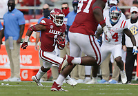 Arkansas defensive back Jalen Catalon (1) intercepts a pass resulting in a pick-six, Saturday, October 17, 2020 during the second quarter of a football game at Donald W. Reynolds Razorback Stadium in Fayetteville. Check out nwaonline.com/201018Daily/ for today's photo gallery. <br /> (NWA Democrat-Gazette/Charlie Kaijo)