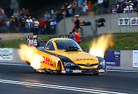 Jul. 19, 2013; Morrison, CO, USA: NHRA funny car driver Del Worsham during qualifying for the Mile High Nationals at Bandimere Speedway. Mandatory Credit: Mark J. Rebilas-