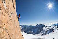 Anna Torretta climbs on the South face of Aig. du Midi, Chamonix, France