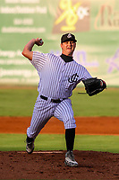 Jackson Generals pitcher Bud Jeter (28) delivers a pitch during a Southern League game against the Biloxi Shuckers on July 26, 2018 at The Ballpark at Jackson in Jackson, Tennessee. Jackson defeated Biloxi 9-5. (Brad Krause/Four Seam Images)